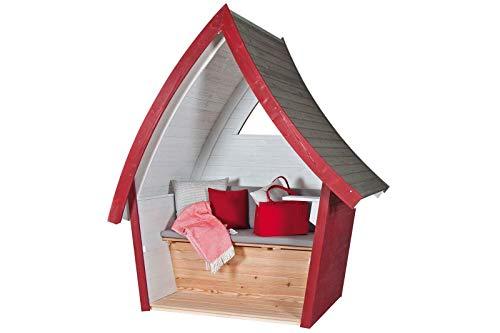 Sonnenpartner Hüttentraum Strandkorb, rot/grau, beschichtetes Fichtenholz, mit Fenster