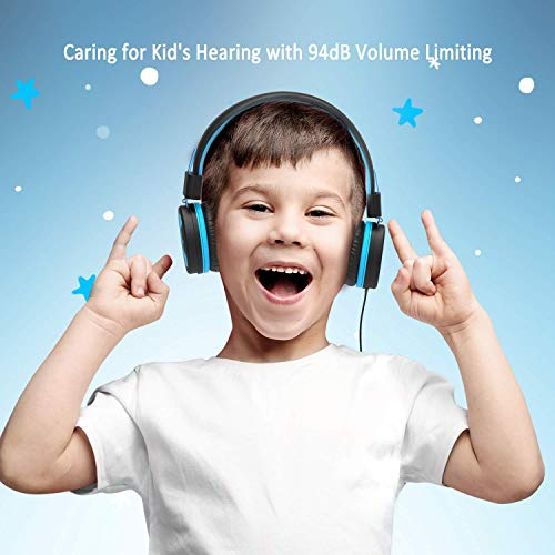 iClever HS14 Kids Headphones, Headphones for Kids with 94dB Volume Limited for Boys Girls, Adjustable Headband, Foldable, Child Headphones on Ear for Study Tablet Airplane School, Black