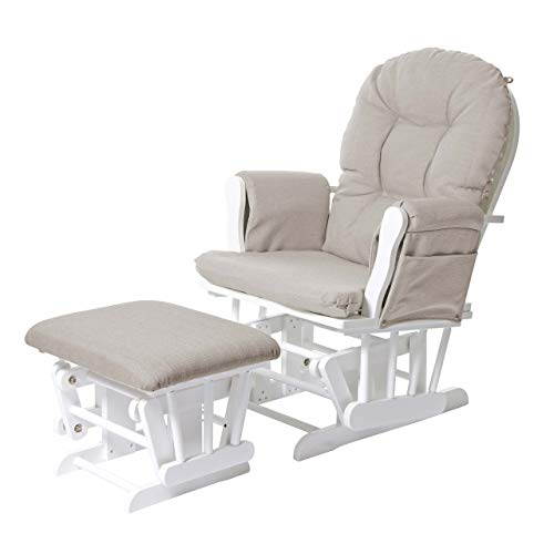 Mendler Relaxsessel HWC-C76, Schaukelstuhl Sessel Schwingstuhl mit Hocker, Stoff/Textil ~ Creme, Gestell weiß