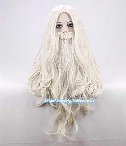 Nueva Peluca De Dumbledore Con Barba De Mago Gandalf Juego De Roles Rubio Pelo Largo Anciano Disfraz De Brujo Peluca Disfraces De Halloween