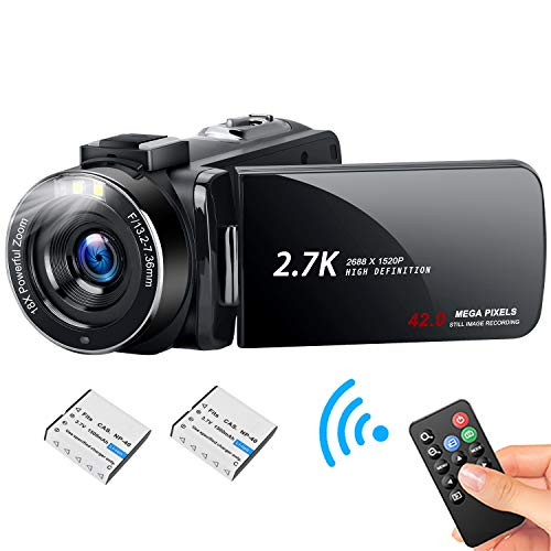 HD Video Camera Camcorder with LED Fill Light, 2.7K 1080P 42MP 30FPS FHD...