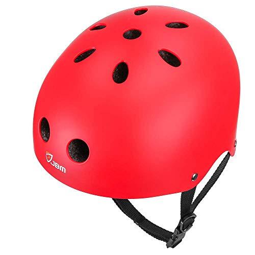 JBM Skateboard-Helm für Kinder/Erwachsene, CPSC ASTM zertifiziert, Stoßfestigkeit, Belüftung für Multisportarten, Radfahren, Skateboarden, Rollerskaten, Inlineskaten, Longboard, Unisex, rot, S