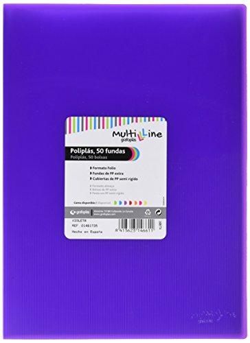 Grafoplás 01461735-Carpeta de fundas Multiline, 50 fundas, tamaño folio, color violeta
