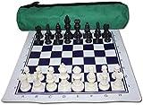 SJZLMB Schachspiel Rollen Sie das Schach-Set mit Schachbrett-Reisetasche und Schach-Stück Samt-Tasche Internationales Schach für Kinder und Erwachsene