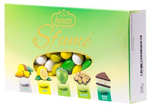 Buratti Confetti con Mandorle Tostate Ricoperte di Cioccolato, Bianco ai Molteplici Gusti, Tenerezze Sfumè Verde - 1000 g