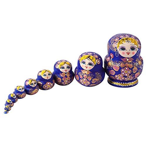DOITOOL 10 Stück Russische Nistpuppen Matroschka Holz Stapeln Nistspielzeug Setzt Geburtstagsgeschenke
