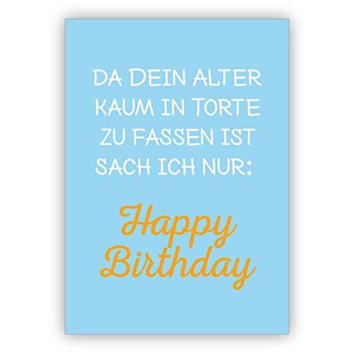 Set van 5 wenskaarten: grappige spreuk verjaardagskaart: Omdat je leeftijd nauwelijks in een taart te pakken is zag ik alleen Happy Birthday