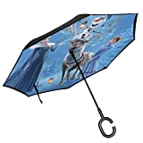 Travel Umbrella,Olafs Fro_Zen Adventure Animation Princess Car Reverse Umbrella Praktische Reverse Umbrellas Zum Einbau In Rucksack Totes,80cm(H) x108cm(Dia)