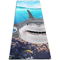 動物 サメ 印刷 ヨガマット5mmプリント厚手の滑り止めエクササイズ&フィットネスマット、あらゆるタイプのヨガ、ピラティス、フロアワークアウト(180cmx 61cmx0.5cm)