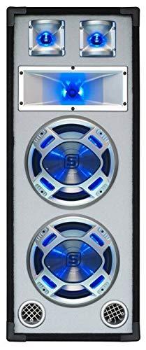 Skytec–Lautsprecher, professionelle passiv, 3Wege, 2x Subwoofer 20cm, Auswirkungen LED–Weißer Vorderseite