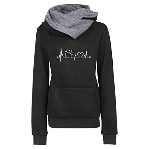 iYmitz Damen Herbst und Winter Beiläufig Hoodies Farbe Sweatshirt Reiner Blusen-Pullover(A-Schwarz,3XL)