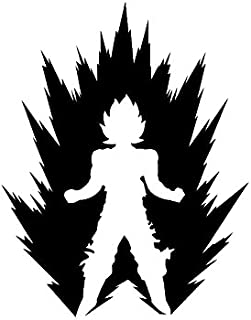 LCK Unique Design DBZ Dragon Ball Z Power Up Super Saiyan, White, 6 Inch, Die Cut Vinyl Decal, For Windows, Cars, Trucks, Toolbox, Laptops, Macbook-virtually Any Hard Smooth Surface