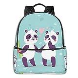 fepeng Panda - Mochila para niñas y niños de viaje para adolescentes (15 pulgadas, para ordenador portátil, universidad, mochila para mujeres y hombres, Negro, Talla única