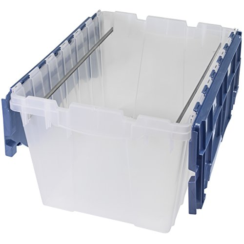 Akro-Mils Plastic Storage Container 12 Gallon KeepBox File Box with Hinged Attached Lid and Rails for Hanging File Folders, 66486FILEB, (21-Inch L by 15-Inch W by 12-Inch H), Clear/Blue