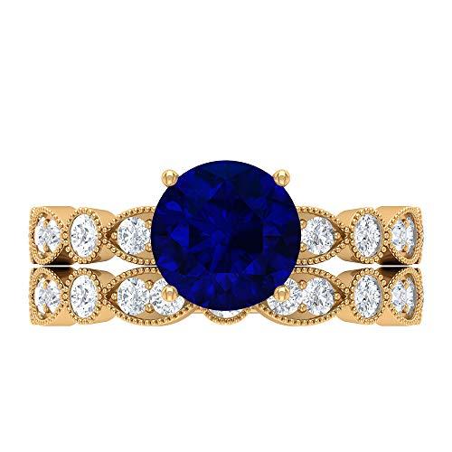 Conjunto de anillos de boda solitario, piedras preciosas redondas de 3,18 quilates, D-VSSI Moissanite 8 mm de zafiro azul creado en el laboratorio, 14K Oro amarillo, Size:EU 57
