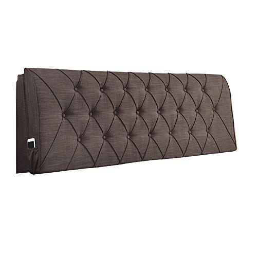 QARYYQ - Cabecero europeo con respaldo largo y respaldo suave, para dormitorio, tamaño de colchón, fundas de almohada de lino – 8 cojines (color: marrón oscuro, tamaño: 120 x 10 x 60 cm)
