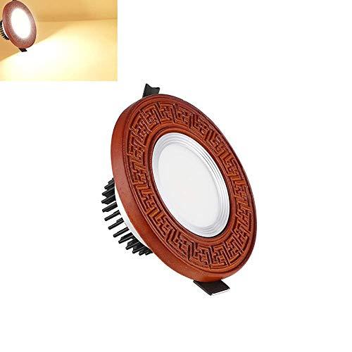 Foco empotrado LED de personalidad de madera maciza Retro Luz empotrada en el panel de techo empotrada en madera maciza AC85-265V Foco empotrado LED de voltaje amplio (Color: 3000K, Tamaño: 5W)