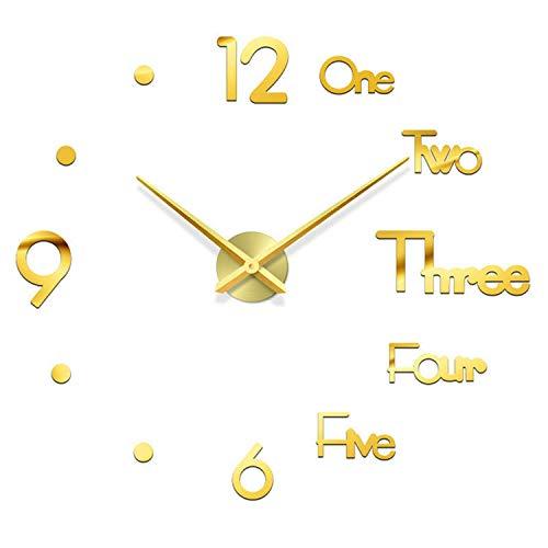 Orologio da Parete Silenzioso Preciso Fai da Te, Orologio Parete Moderno Decorazione, Grande Orologio da Parete 3D Adesivo Home Office Decor Regalo (Oro)