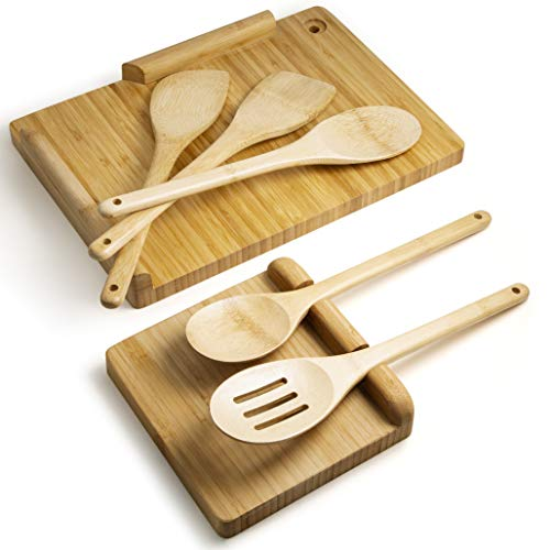 Complete Bamboo Wooden Essential Kitchen Cooking Utensils Set - Includes A Bespoke Bamboo Chopping Board, Multi Spoon Rest and 5-Piece Kitchen Utensil Set