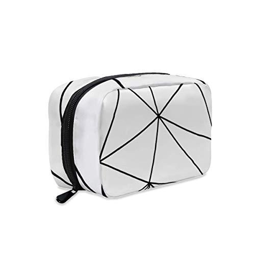 Zara - Bolsa de maquillaje con cremallera para viaje, diseño geométrico, color blanco y negro