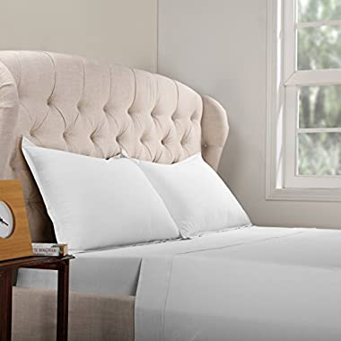 HPD Half Price Drapes Ccj-Whtss-Qunn 100% Cotton Bed Sheet Set with Aloe Vera Treatment, Queen, White, 4 Piece