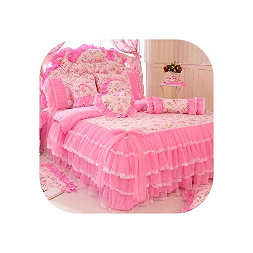 Find Cheap BBIDSW Lace Bedspread Bedding Set King Queen 4pcs Princess Duvet Cover Bed Skirts Bedclot...