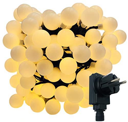 180-er XXL Party-Lichterkette | strombetrieben | 17,9m + Zuleitung | IP44 Innen- und Außenbereich | Deko | Weihnachten | Sommerlichterkette | Gartenlichterkette | Kugel-Lichterkette (Warm-Weiß)