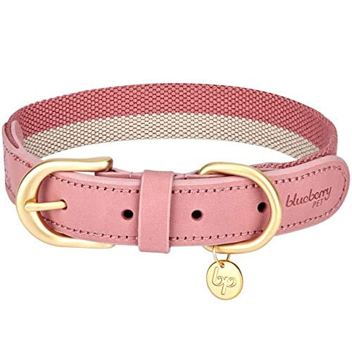 Blueberry Pet 8 Colors Soft & Comfy Genuine Leather & Polyester Combo Adjustable Dog Collar - Classic Staple Striped in Pink and Grey, Medium, Neck 15'-18'