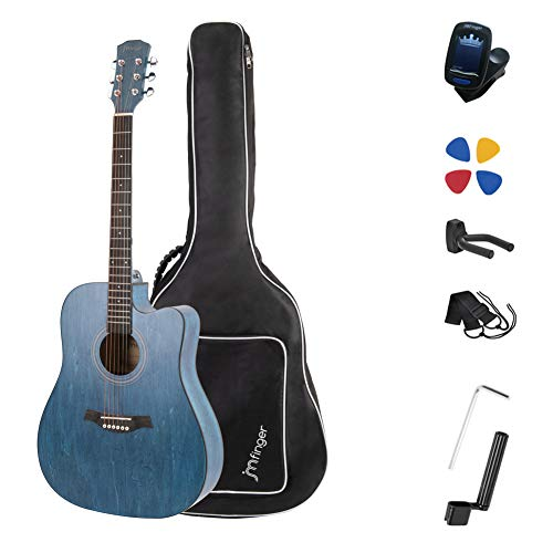 JMFinger Full Size 41 Inch Cutaway Acoustic Guitar for Beginners with Bag, Tuner, Strap, Picks,...