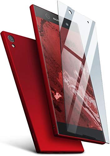 moex Hardcase kompatibel mit Sony Xperia XA1 - Hülle Ultra dünn mit Panzerglas Schutzfolie, Slim Hülle Handyhülle beidseitig, matt Rot