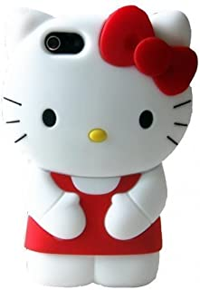 iPhone 6 Case, Phenix-Color 3D Cute Cartoon Monster Blue Giant Horn University Style Silicone Rubber Case for iPhone 6 4.7 Inch (Hello Kitty red)