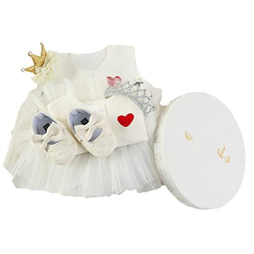 JUNBABY Boîte-Cadeau pour Bébé, Cas Actuel De Robe De Princesse pour Nouveau-Né, Style élégant Baby Girl-WhiteC-S