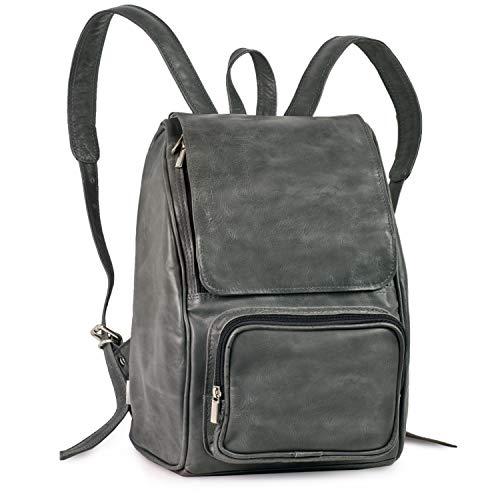 Mittel-Großer Lederrucksack Größe M Laptop Rucksack bis 14 Zoll, für Damen und Herren, Anthrazit-Grau, Jahn-Tasche 710