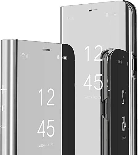 Capa flip compatível com Samsung Galaxy A80, capa fina translúcida espelhada, cobertura de proteção total, capa híbrida de couro PU PC à prova de choque para Samsung Galaxy A80 (prata)