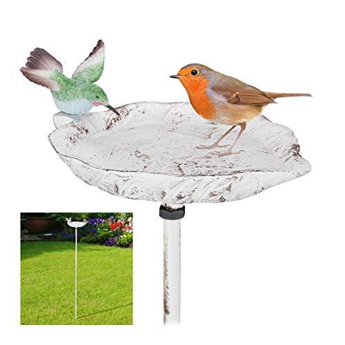 Relaxdays Gusseisen Vogeltränke zum Stecken, mit Erdspieß, Gartendeko, Vogelfutterstelle, Wasserschale 1m hoch, weiß