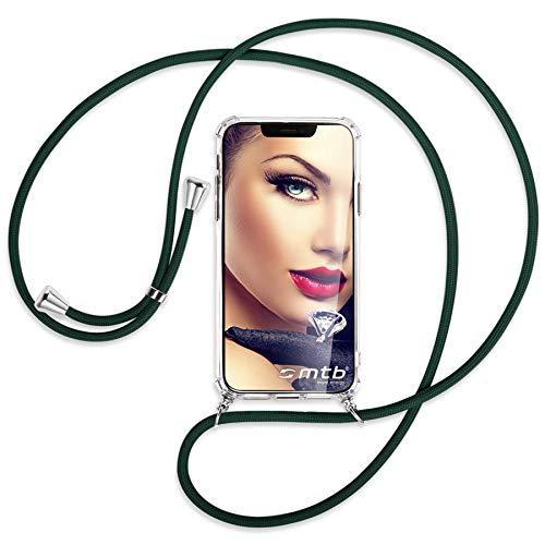 mtb more energy® Handykette kompatibel mit Sony Xperia L2, L2 Dual SIM (5.5'') - dunkelgrün - Smartphone Hülle zum Umhängen - Anti Shock Full TPU Hülle