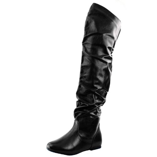 Nature Breeze Vickie Hi Knee high Boots,Vickie-Hi6.0 Black Pu 10