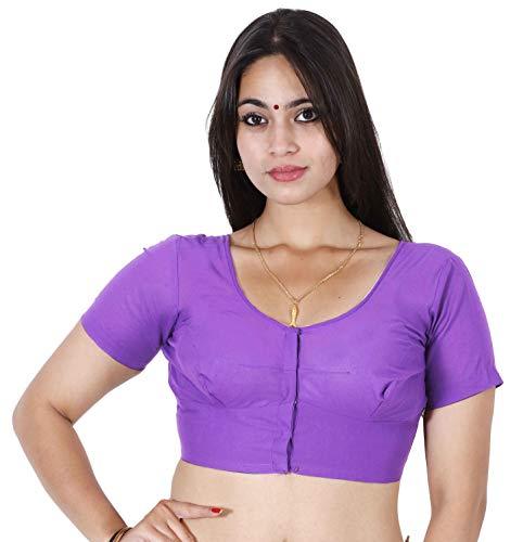 JISB Women's Stitched Readymade Full Voile Cotton blouse (XL - Size 38, Lavender)