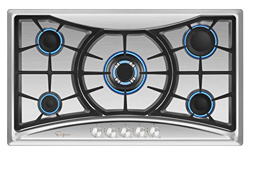 Price comparison product image Empava 36 in. Gas Stove Cooktop 5 Italy Sabaf Sealed Burners NG / LPG Convertible in Stainless Steel,  36 Inch
