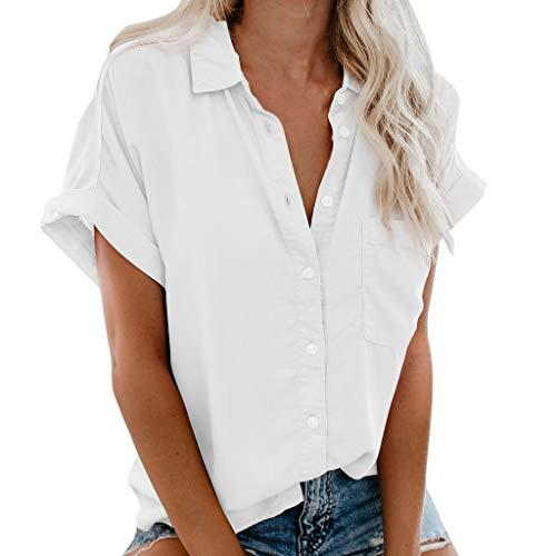 MIRRAY Mode Damen Kurzarm Pocket Button Tee Casual Bluse Tops (S-3XL) T Shirt