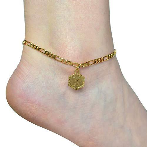 JGONas Mode Frauen Englisch Brief Charm Kette Fußkettchen Fußkettchen Fußschmuck Geschenk Fußkettchen Fußschmuck Für Frauen F. Golden