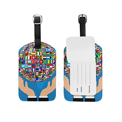 LORONA World Flag Hands Globe Luggage Tags Strings Travel ID Label for Suitcase Carry-on Baggage, 1PC