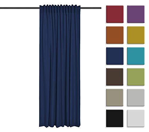 Rollmayer Vorhang mit Tunnelband (Reno Dunkelblau 44, 140x150 cm - BxH) Uni einfarbig Verdunklungsgardine verdunkelung lichtundurchlässig für Schlafzimmer Wohnzimmer 1 Stück
