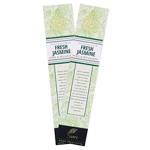 SVATV Jasmine :: Palillo de incienso Masala enrollado a mano Hecho en la India Paquete de 15 g Juego de 2 cajas