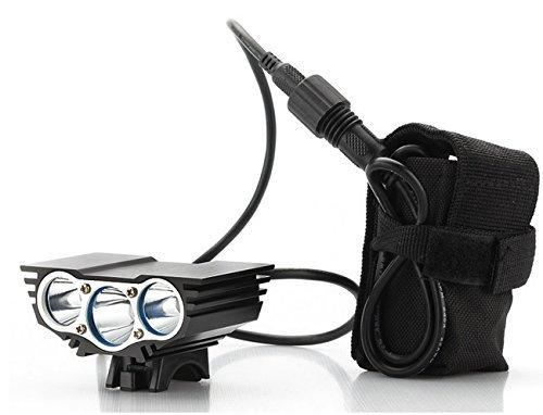 Luz delantera - Foco frontal para Bici 6000 lúmenes Linterna LÁMPARA TORCH frontal 3x CREE XM-L U2 LED de bicicleta