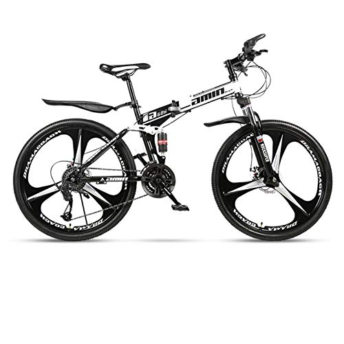 DGAGD Bicicleta de montaña Plegable de 24 Pulgadas para Adultos, una Rueda, Doble Amortiguador, Todoterreno, Bicicleta de Velocidad Variable, Rueda de Tres Cuchillas-B Blanco y Negro_24 velocidades