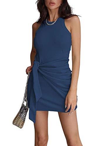 Charmlinda Vestido sin mangas de verano para mujer, de color sólido, casual, cuello redondo, cintura fruncida, bodycon corto mini vestidos