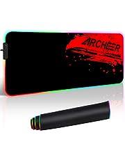 RGB spelmusmatta, ARKEER stor musmatta utökad (800 x 300 mm) LED vattentät musmatta med 12 ljuslägen, halkfri gummibas för Macbook, PC, bärbar dator och skrivbord – svart