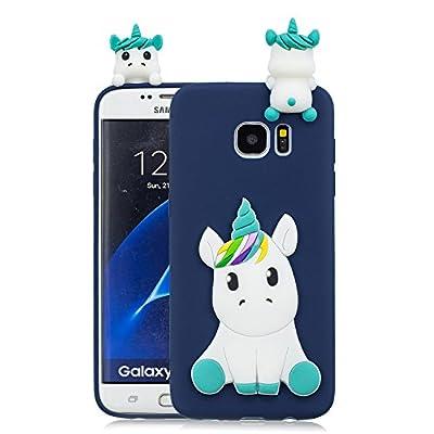 Leton Funda Samsung Galaxy S7 Edge Silicona Unicornio 3D Suave Flexible TPU Carcasa Galaxy S7 Edge Ultra Delgado Mate Gel Tapa Antigolpes Goma Cubierta Case Ultrafina 3D Papa Protectora Bumper Azul