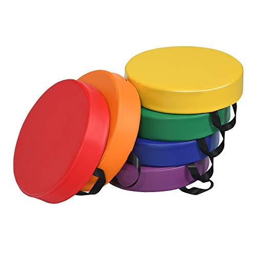 COSTWAY 6er Set Kinder Stuhlkissen mit Griff, Bodenkissen mit Reißverschluss, Sitzkissen Mehrfarbig, Sitzerhöhung Hauptkissen für Kinderzimmer und Kindergarten (Rund)